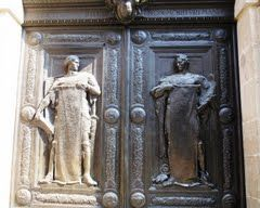Padova - Bas-reliefs of the door of the Palazzo del Bo