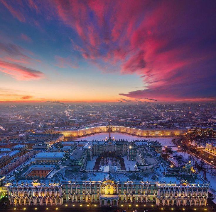 Palais d'Hiver vu de Haut depuis la Neva - Saint-Petersbourg