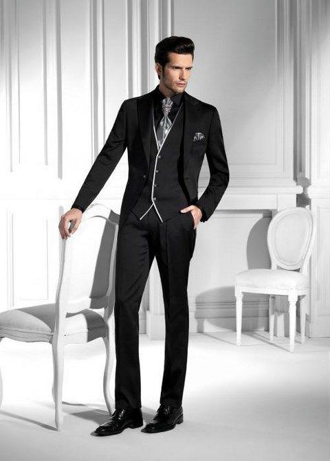 Čierno - sivý luxusný pánsky slim svadobný oblek lesklý PO32 - Svadobný salón Valery