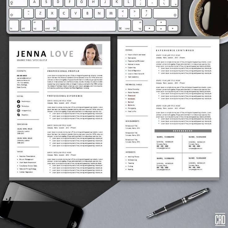 Creative Resume, Professional Printable Editable Word