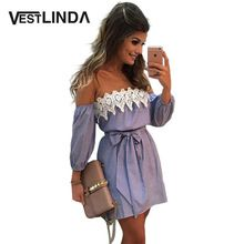 VESTLINDA Off Shoulder Blue Striped White Applique Mini Dress Women Slash Neck Lantern Sleeve Casual Sexy Short Dress With Belt(China (Mainland))
