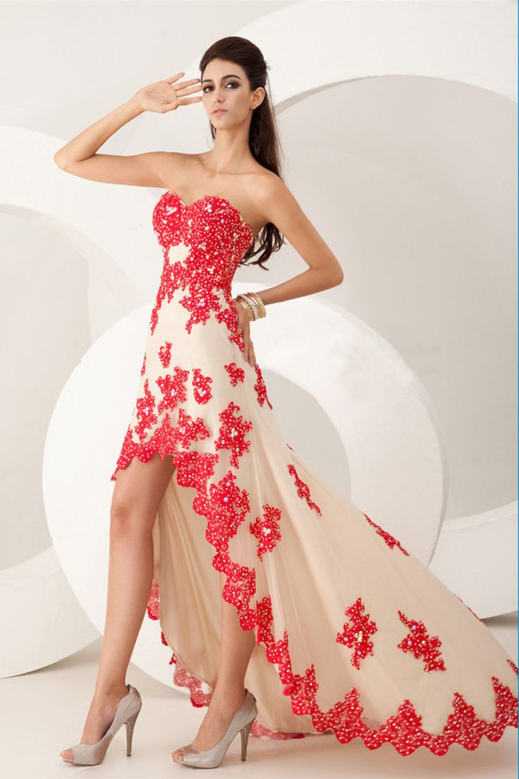 2014 Sweetheart High Low Prom Dress A Line Tulle With Beaded Applique