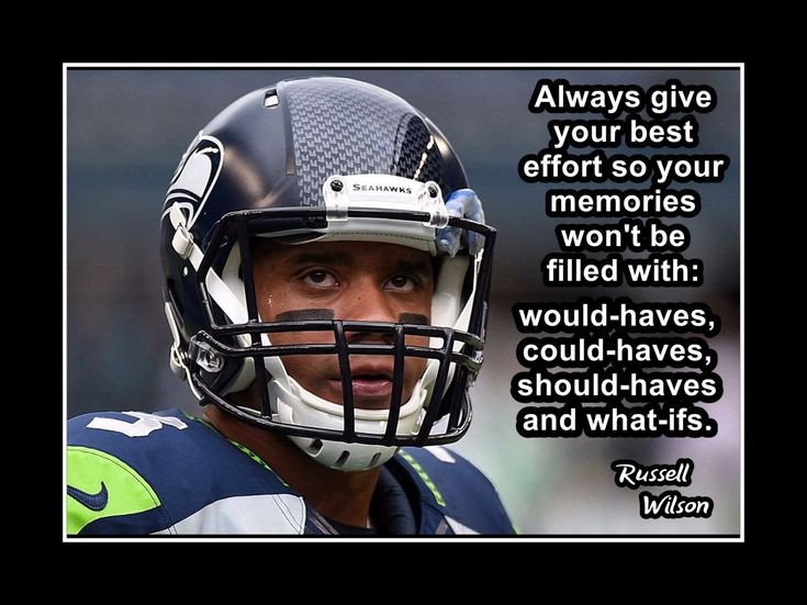 """Football Motivation Poster Russell Wilson Seahawks Photo Quote Wall Art 5x7""""- 11x14"""" Don't Let Memories Be Filled With Woulda Could Shoulda by ArleyArt on Etsy"""