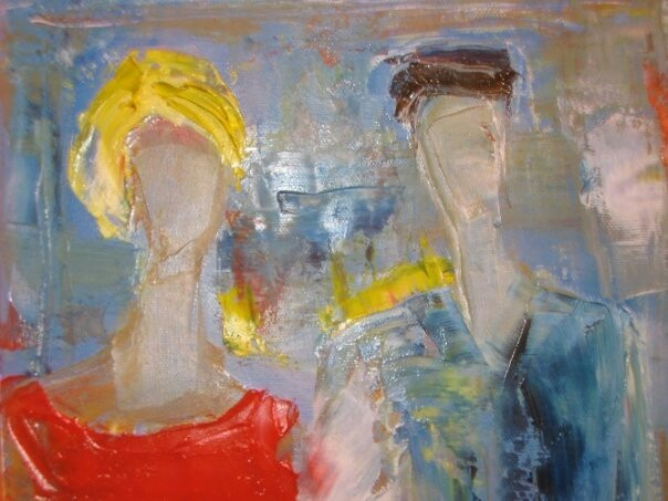 'Mr & Mrs' oil on canvas. By Tahmina Stenevik