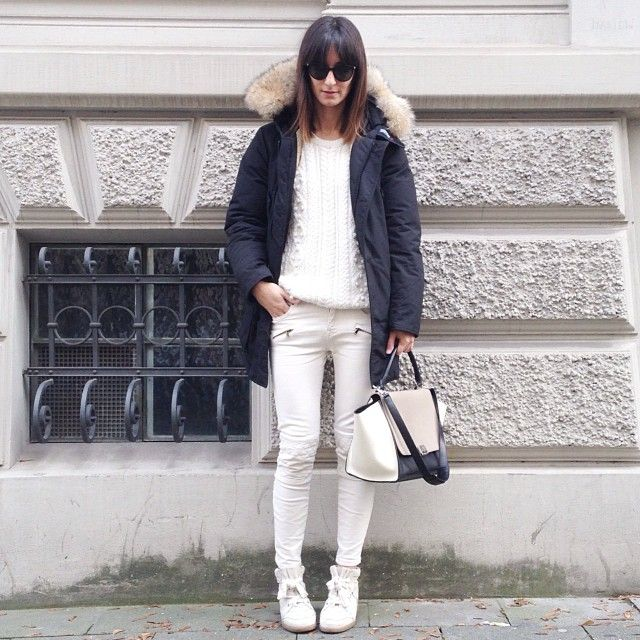 woolrich arctic parka, isabel marant bobby sneakers, zara biker pants, celine bag | white black #golestaneh