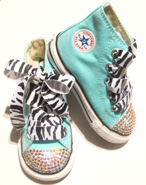Adorable! Tiffany blue bling Converse hightop sneakers with custom zebra print laces by KayBellissima.