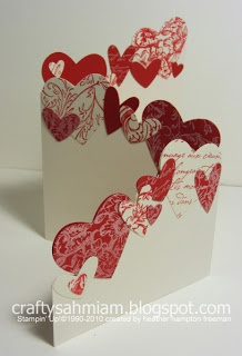 Valentines Day - Trifold Punched Hearts Card-could be done with butterflies, birds etc.