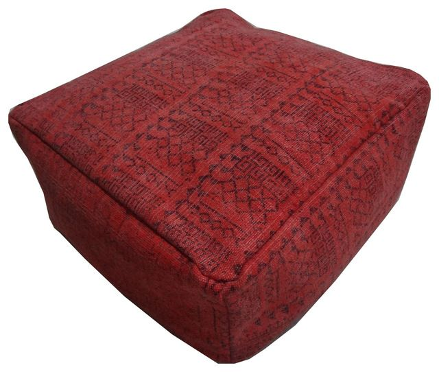 Square Dhurrie Pouf eclectic-ottomans-and-cubes