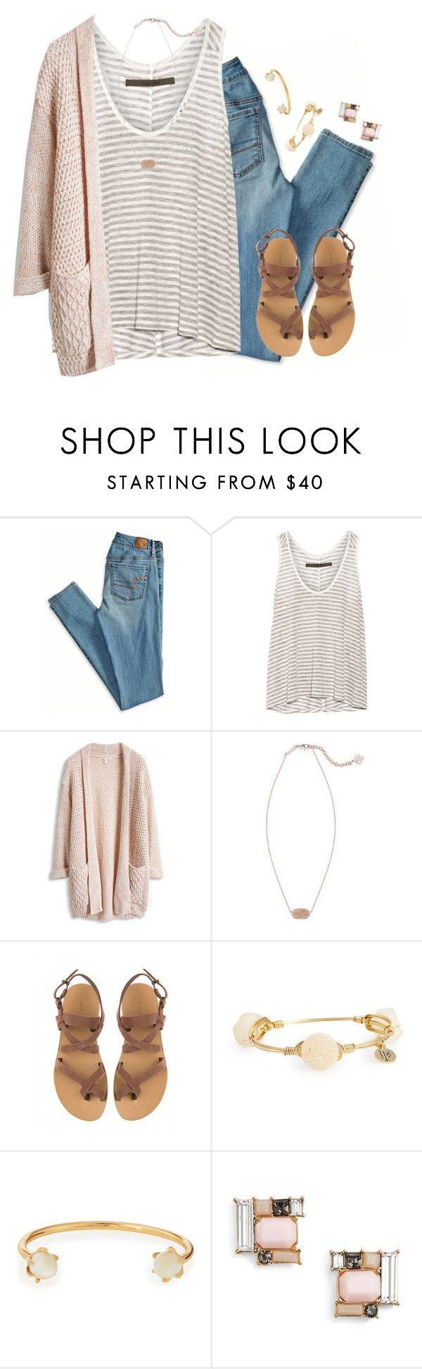 """""""❁ she needed a hero so that's what she became ❁"""" by kaley-ii ❤ liked on Polyvore featuring American Eagle Outfitters, Enza Costa, Kendra Scott, Valia Gabriel, Bourbon and Boweties, Lizzie Fortunato and Kate Spade"""