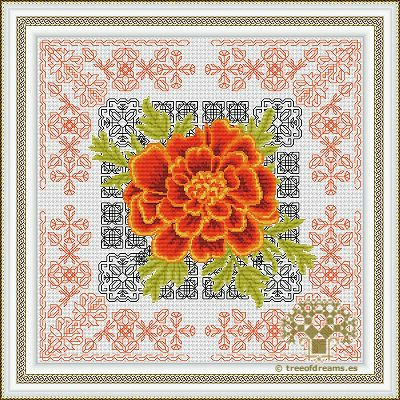 Azulejos Series - Marigold (Blackwork + Petite stitch) - Tree of Dreams | Custom cross stitch, Blackwork, Hardanger patterns and more