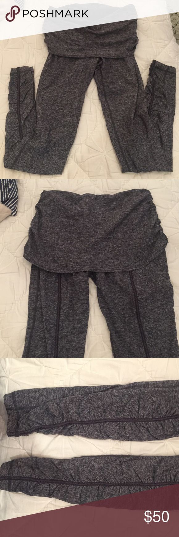 Lululemon ballet tights, size 10 Lululemon tights in dark heathered gray with super cute ruched bottom detail and fold over waistband for a flattering fit and cover the bum. lululemon athletica Pants Leggings
