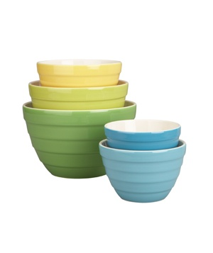 crate and barrel 5-piece parker bowl set / beautiful spring colors
