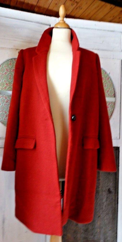 Manteau femme coupe droite ZARA trafaluc laine mélangé T 40 couleur rouille 405192c5b48