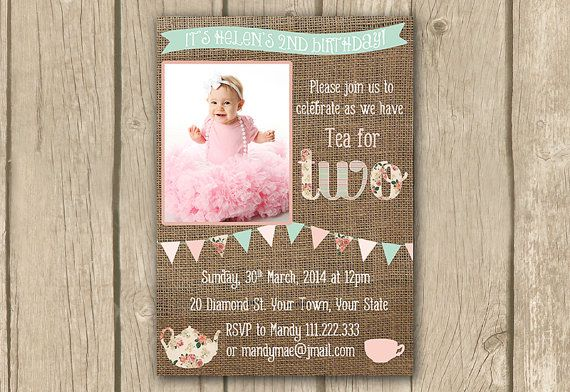 Tea for two invite, Tea for 2 invitation, DIY PRINTABLE, pink mint green, tea party invite, afternoon tea, bunting, proof in 2 business days on Etsy, $16.50