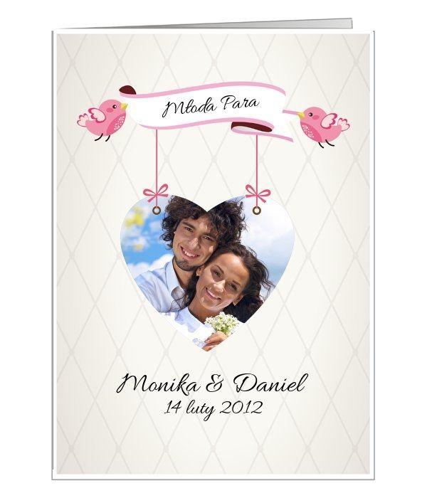 Kartka ślubna, na której możemy umieścić fotografię Młodej Pary