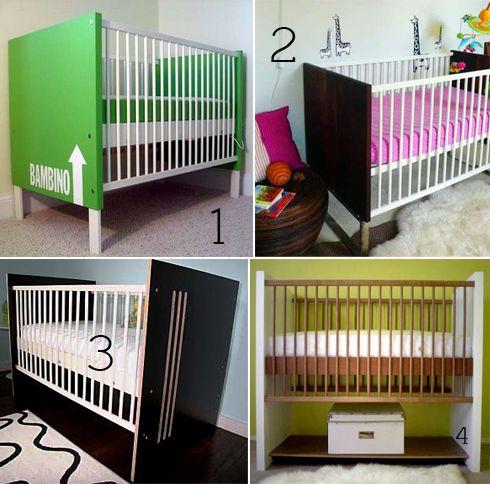 Ikea Gulliver crib transformed http://www.chiccheapnursery.com/2010/do-it-yourself/4-ways-to-pimp-out-an-ikea-crib/