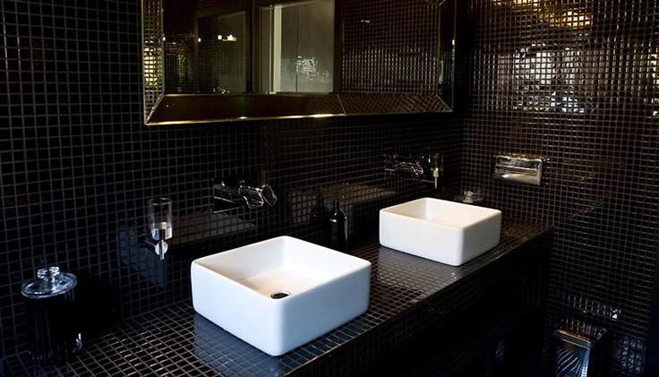 glossy black tile #bathroom