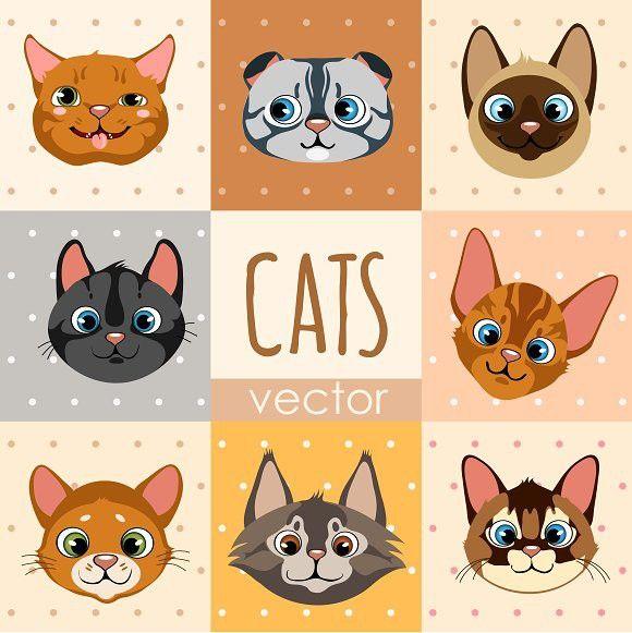 Set Of 8 Cartoon Cat Faces Cartoon Cat Cat Face Cartoon Faces