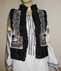 Antique Romanian hand embroidered sheepskin vest from Moldova.  Available at www.greatblouses.com