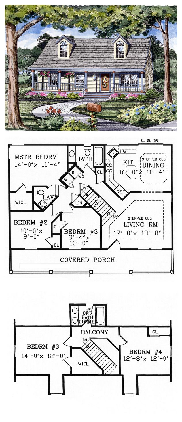 Capecod house plan chp 45832 for Cool plans
