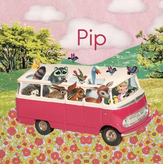 Geboortekaartje Pip - wat een gezelligheid in dit busje!  Een vrolijk retro geboortekaartje voor een eigenwijs meisje.