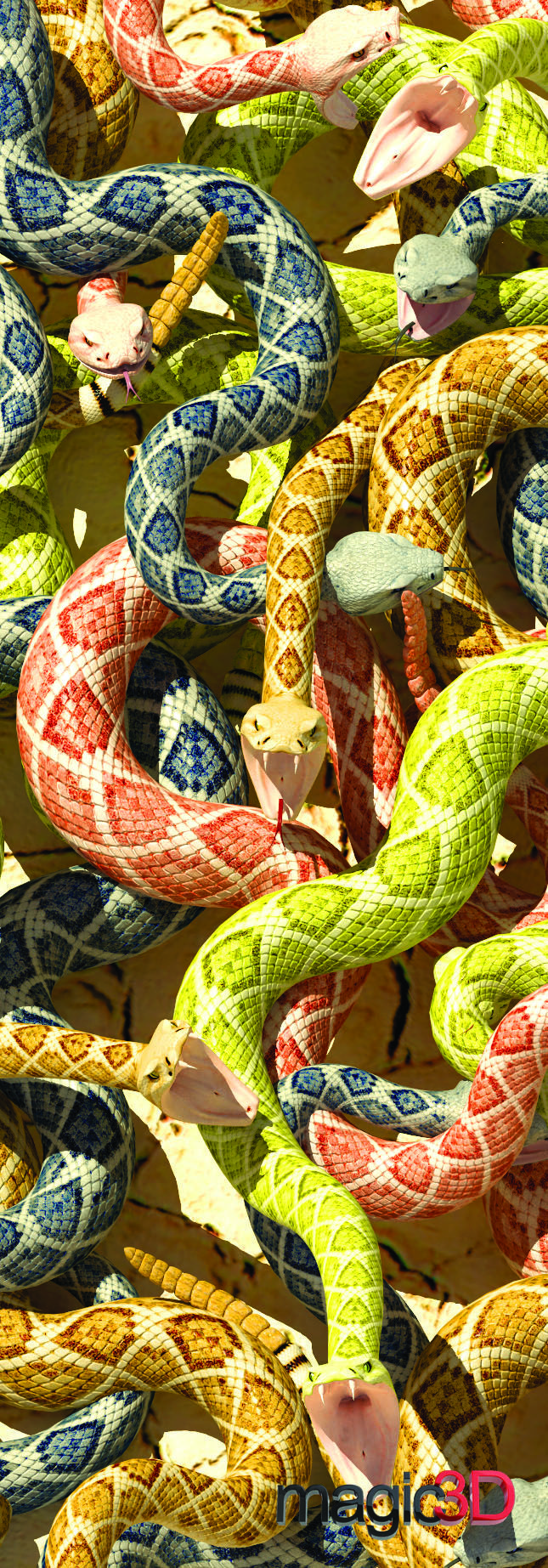 "Magic 3D Snakes - Bookmark/6"" Ruler #020"