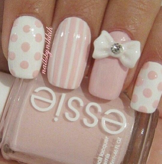 pink nails: 3d bow, stripes, polka dots with essie polish