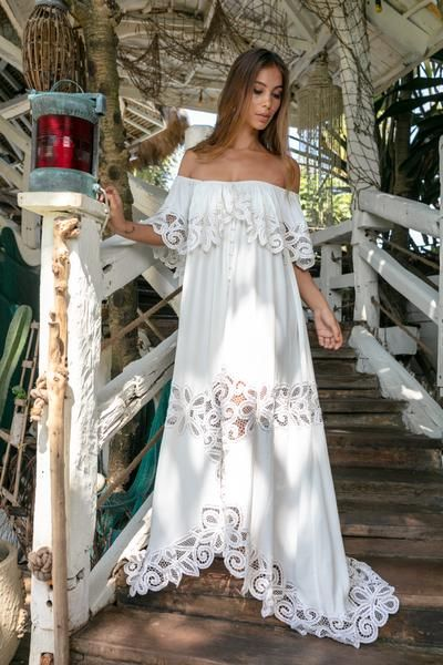 dec4854606e FILLYBOO -  PRETTY TUESDAY  - BATTENBERG LACE OFF-SHOULDER DRESS - IVORY Our