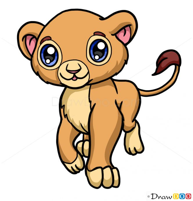 how to draw baby lion cute anime animals creating beauty pinterest