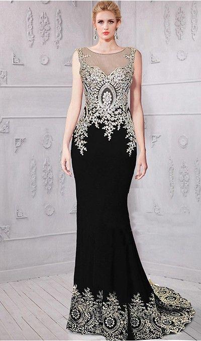c38b814d5c Sheath Bateau Neckline Sleeveless Black Satin Gold Lace Applique Evening  Prom Dress