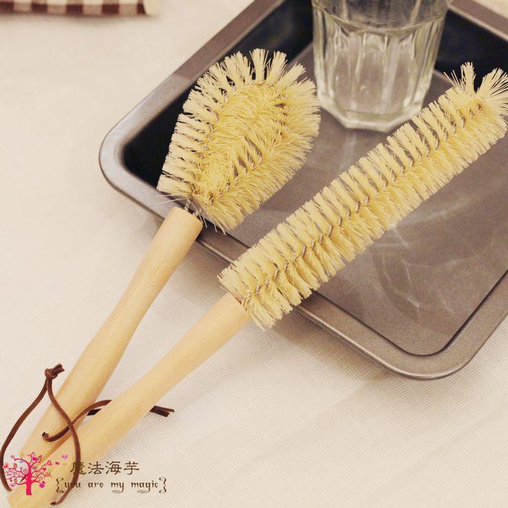 Log h303 zakka shank cup brush long-handled brush bottle brush cleaning brush kitchen tools small