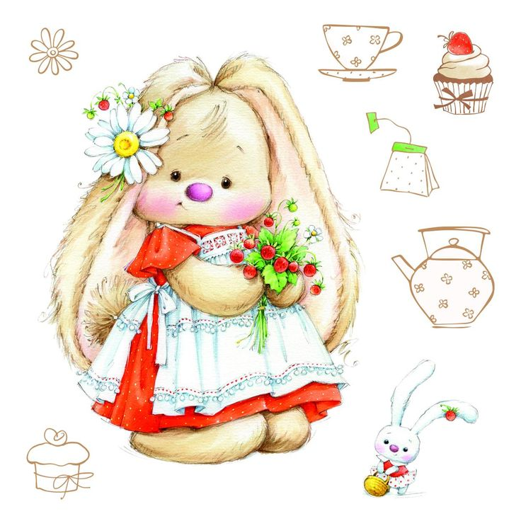 ScrapBerry's Summer Joy: Strawberry Bunny - set of clear stamps