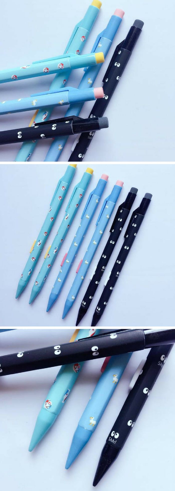 Cute mechanical pencils! I love the black ones with the googly eyes, it reminds me of the dust ball things (soot sprites?) from Totoro! #ad #stationery #kawaii