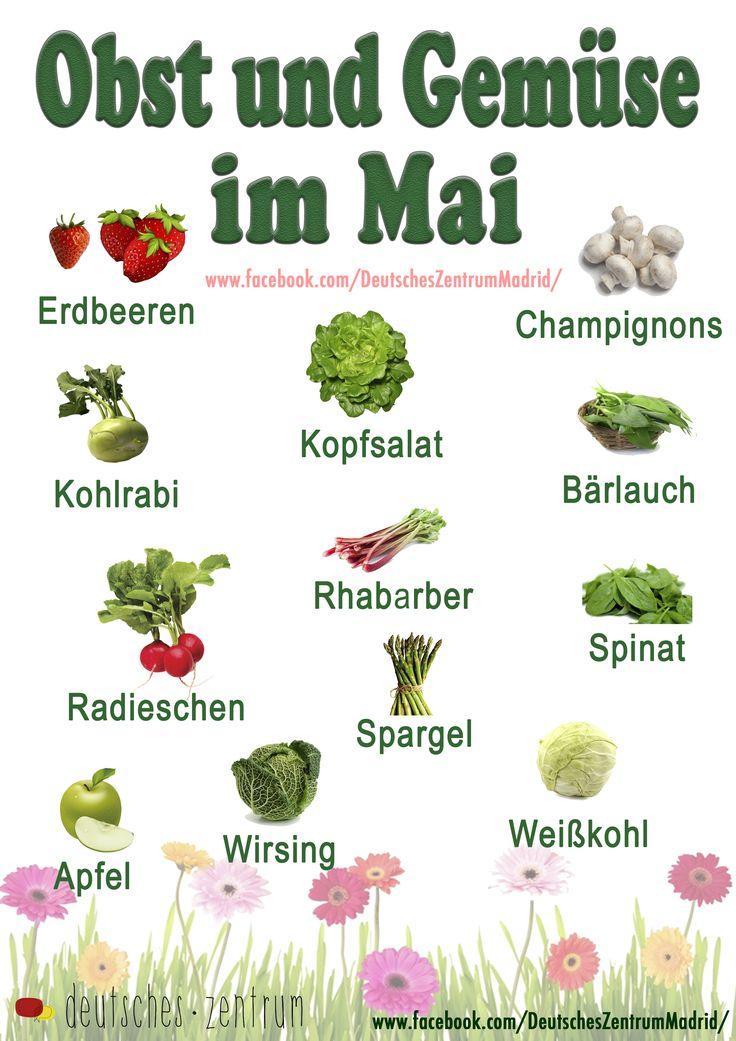 Im Mai: Obst und Gemüse Deutsch Wortschatz Grammatik German Alemán DAF Vocabulario