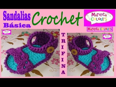 "Sandalias Bebé de Verano ""Trifina"" Zapatitos a Crochet (Parte 1) por Maricita Colours - YouTube"