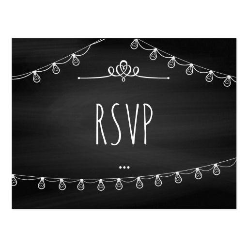 Trendy Chalkboard Wedding RSVP add photo Postcard
