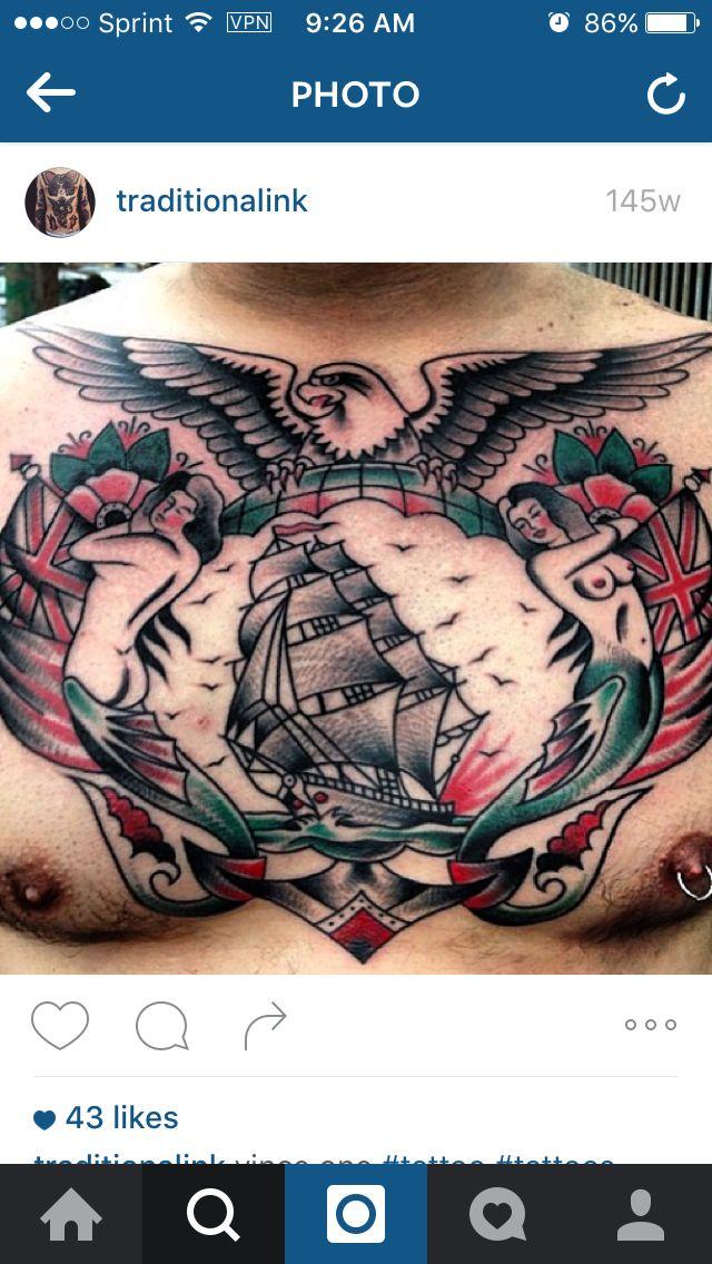 Traditional Chest Tattoo Idea
