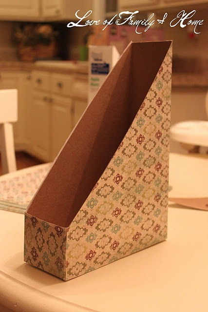 How to make a magazine holder (or paper holder) out of a cereal box.