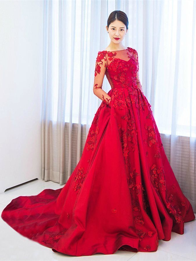 33dac1d30ea4 Long Sleeves A-Line Appliques Off-the-Shoulder Court Train Evening Dress by prom  dresses, $275.08 USD