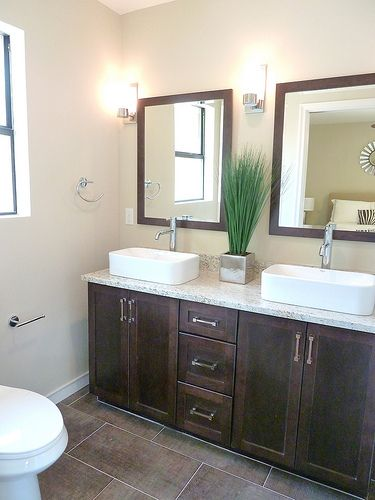 The after master bath from our fourth renovation with for Master bathroom vessel sink