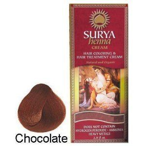 Surya Henna Henna Cream Chocolate, Chocolate 2.31 Oz by Surya Henna. $13.60. 70 ml / 2.31 fl. oz.. Semi-Permanent hair coloring and nourishing treatment for the hair. No peroxide, ammonia, resorcinol, PPD, parabens, or heavy metals.. Surya henna Brasil Cream Hair Coloring & Hair Treatment Cream, Chocolate 2.31 fl oz (70ml) Surya Henna cream colors while revitalizing, moisturizing and conditioning your hair. Its formula, enriched with natural extracts, nourishes...
