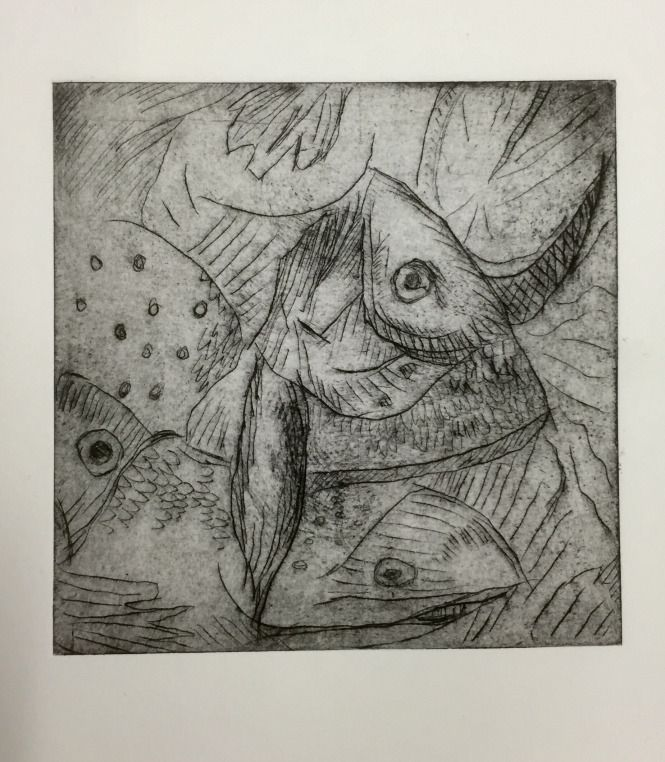 Drypoint print of fish heads, ink on paper, by Michael Fredman