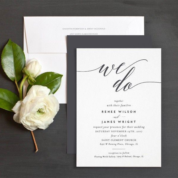 We Do Wedding Invitations By Emily Buford Black And White Elli