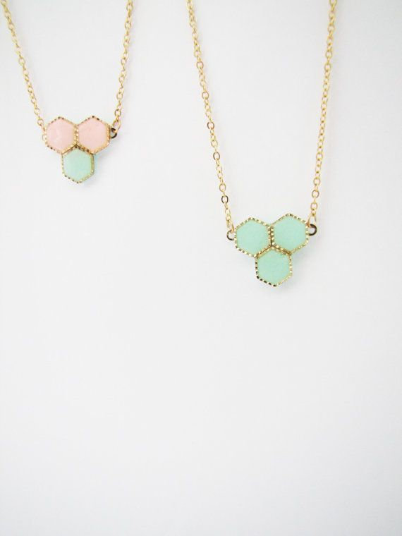 Honeycomb mint peach necklace. Minimalistic necklace. by Nuann