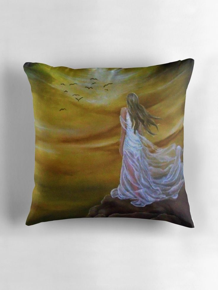 Throw Pillow,  home,accessories,sofa,couch,decor,fantasy,sky,girl,woman,female,white,long,hair,dress,colorful,orange,golden,cool,impressive,beautiful,fun,fancy,unique,trendy,artistic,modern,awesome,fahionable,unusual,for,sale,design,presents,gifts,ideas,redbubble