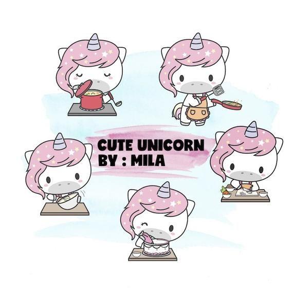 Chibi Unicorns Vector Clipart Graphics Cute Kawaii Commercial Use DIY Planner Stickers Designs Unicorn Chores Clip Art 15 Set Rainbow