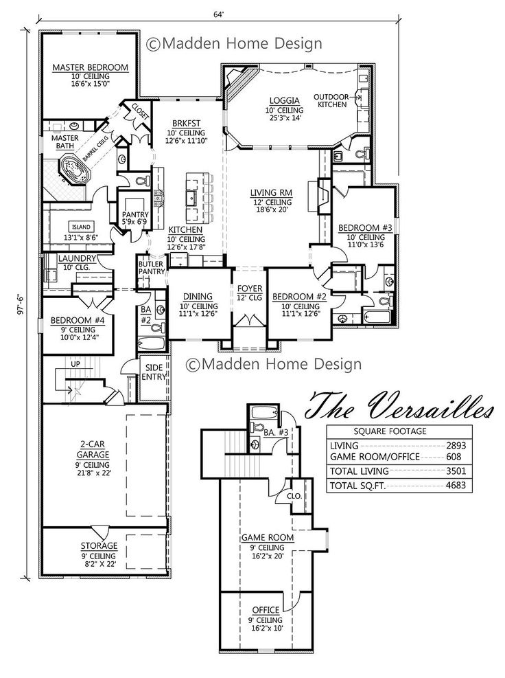 Madden home design the versailles house plans for Madden house plans