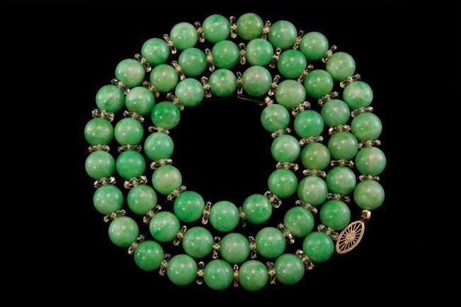 Antique Chinese Apple Green Jade Beads Rock Crystal 18k