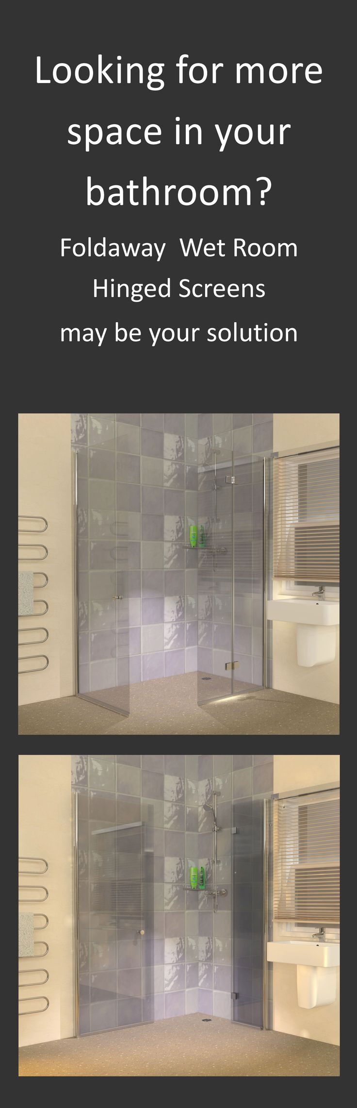 Space saving foldaway wet room shower screens are perfect for the smaller…