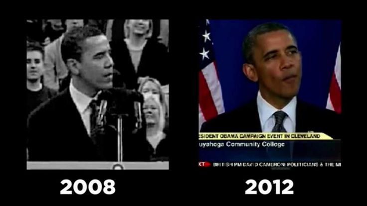 A side-by-side comparison of Obama's 2008 and 2012 speeches. So many promises, so much to say, so sad and pathetic!